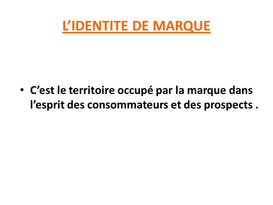 L'IDENTITE DE MARQUE C'est le territoire occupé par la marque dans l'esprit des consommateurs et des prospects .