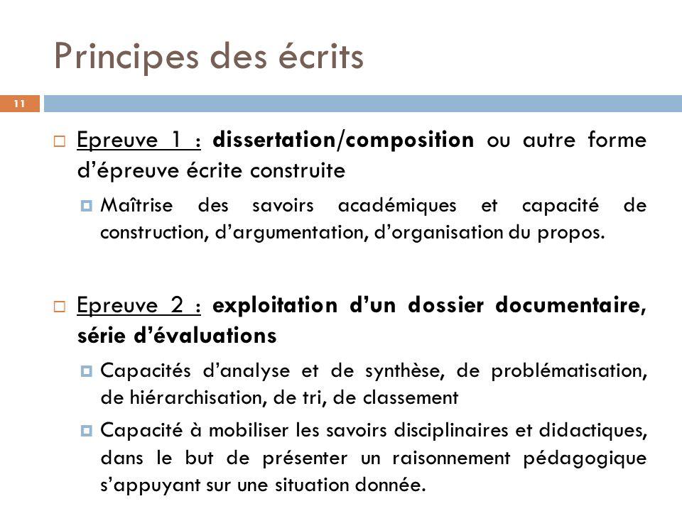 Principes des écrits Epreuve 1 : dissertation/composition ou autre forme d'épreuve écrite construite.