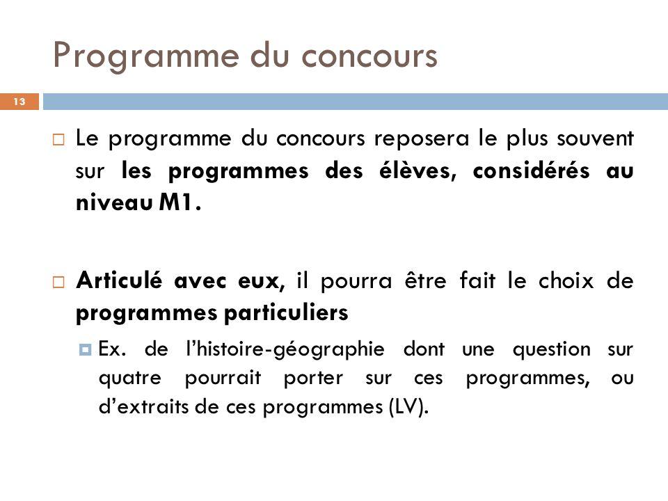 Programme du concours Le programme du concours reposera le plus souvent sur les programmes des élèves, considérés au niveau M1.
