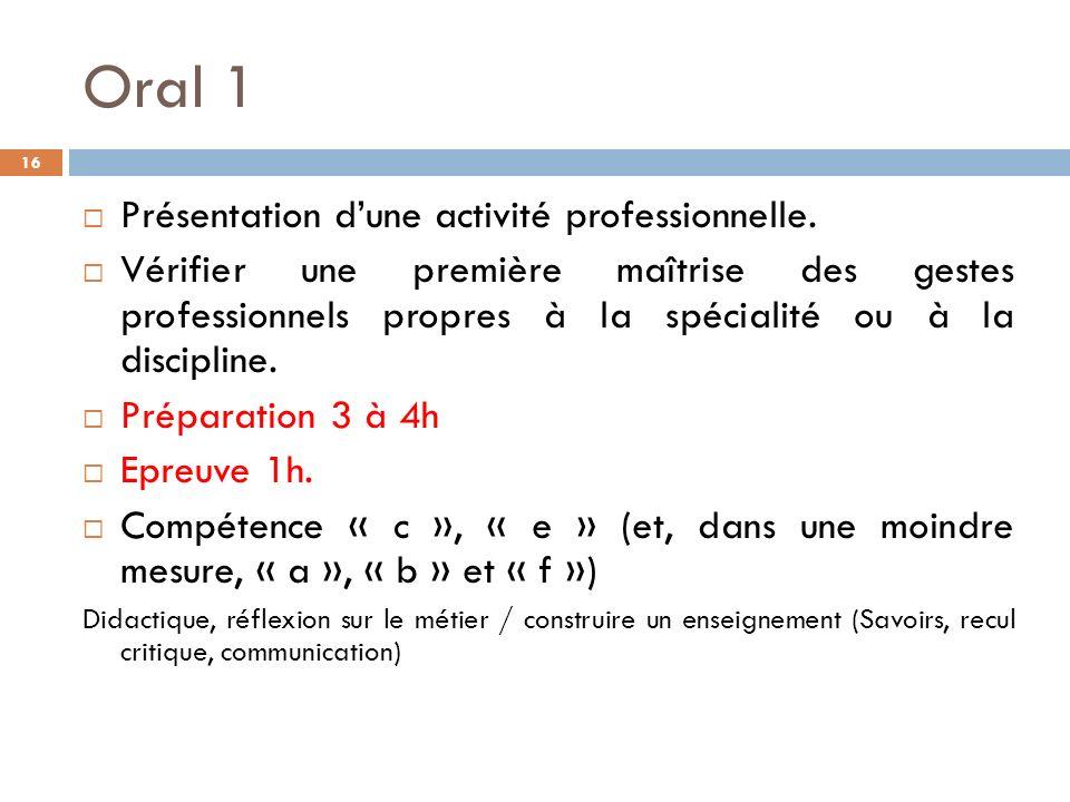 Oral 1 Présentation d'une activité professionnelle.