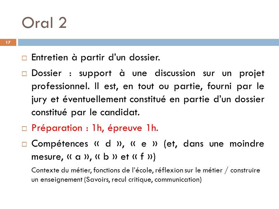 Oral 2 Entretien à partir d'un dossier.