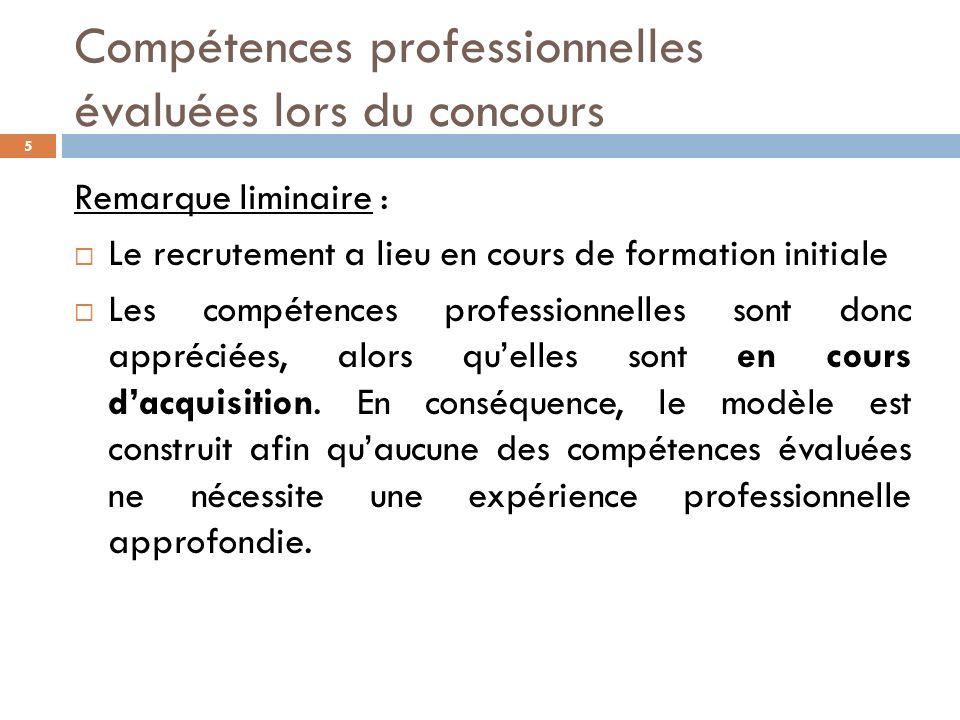 Compétences professionnelles évaluées lors du concours