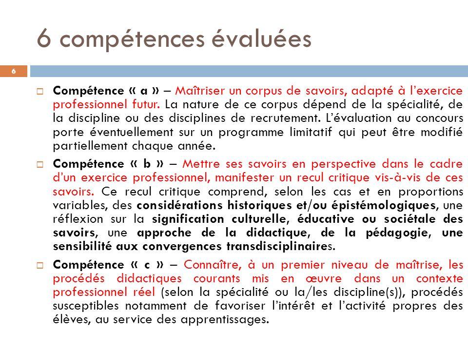 6 compétences évaluées