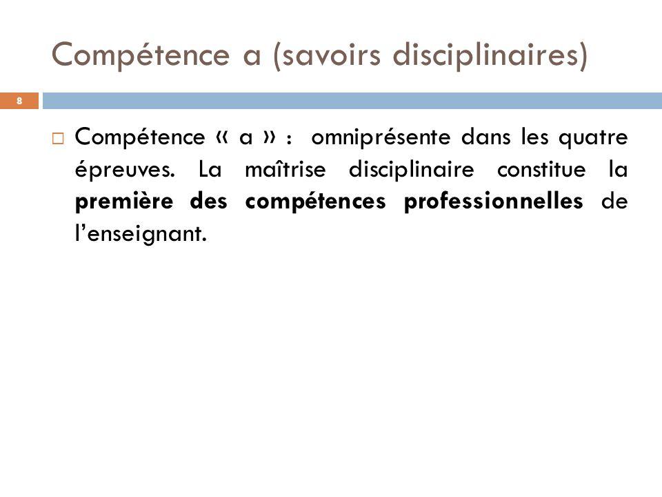 Compétence a (savoirs disciplinaires)