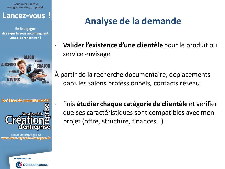 Analyse de la demande Valider l'existence d'une clientèle pour le produit ou service envisagé.