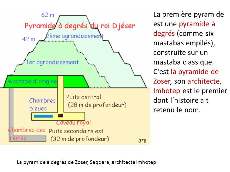 La première pyramide est une pyramide à degrés (comme six mastabas empilés), construite sur un mastaba classique. C'est la pyramide de Zoser, son architecte, Imhotep est le premier dont l'histoire ait retenu le nom.
