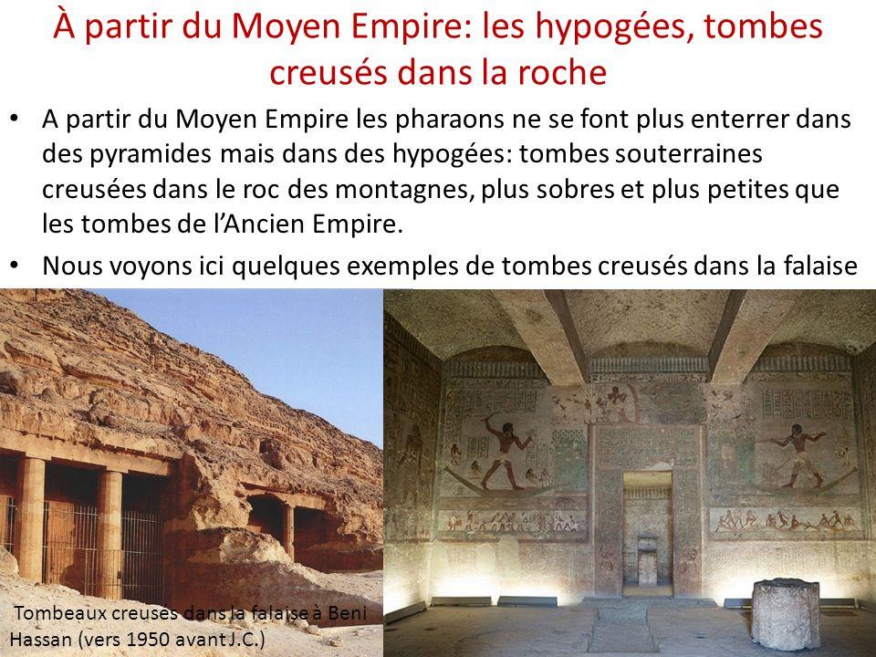 À partir du Moyen Empire: les hypogées, tombes creusés dans la roche