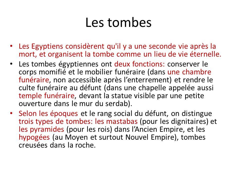 Les tombes Les Egyptiens considèrent qu il y a une seconde vie après la mort, et organisent la tombe comme un lieu de vie éternelle.