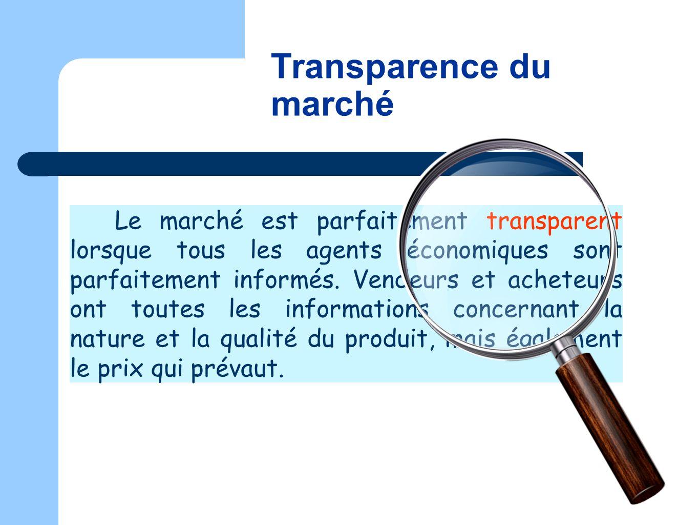 Transparence du marché
