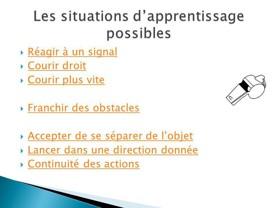 Les situations d'apprentissage possibles