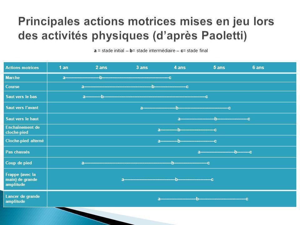 Principales actions motrices mises en jeu lors des activités physiques (d'après Paoletti)