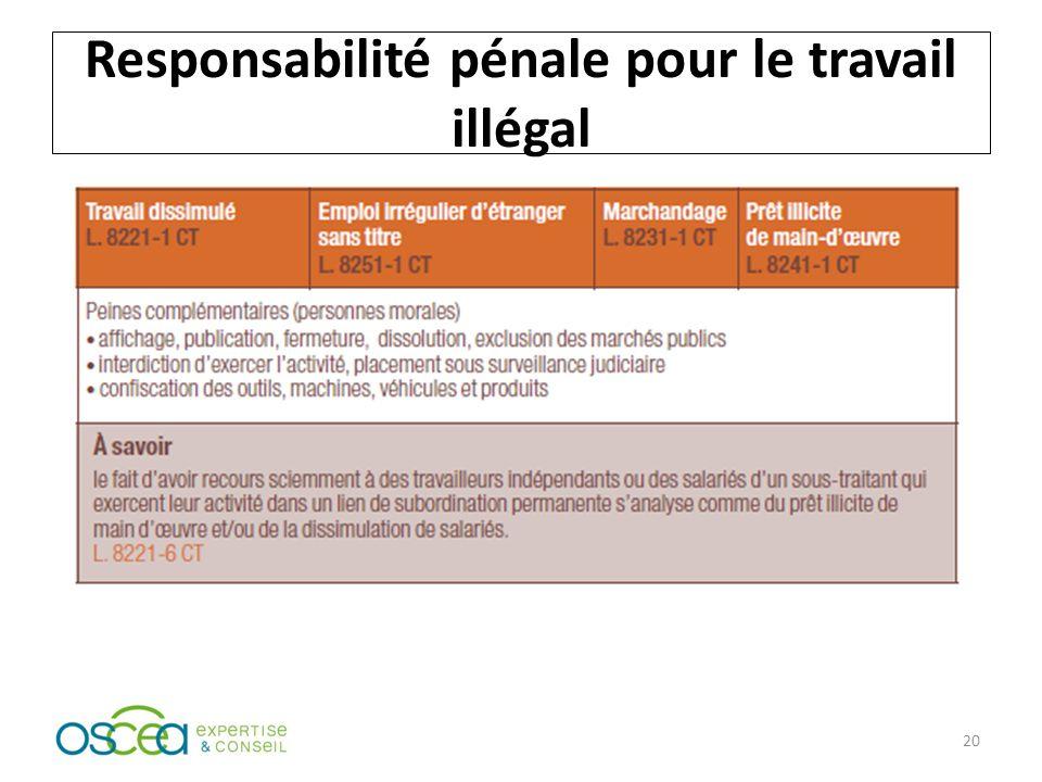 Responsabilité pénale pour le travail illégal