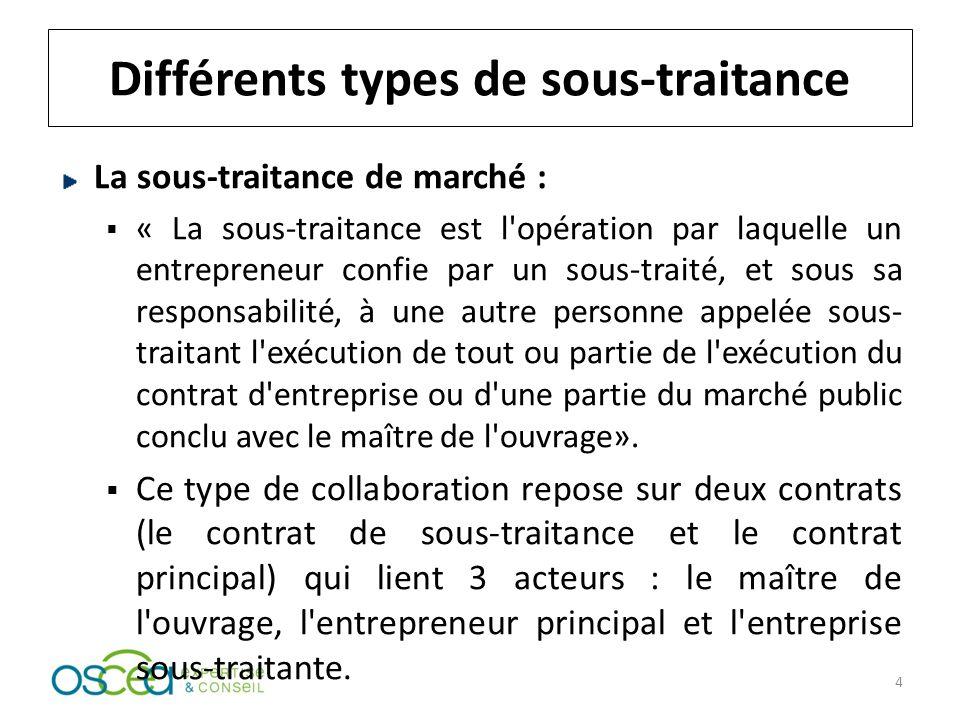 Différents types de sous-traitance