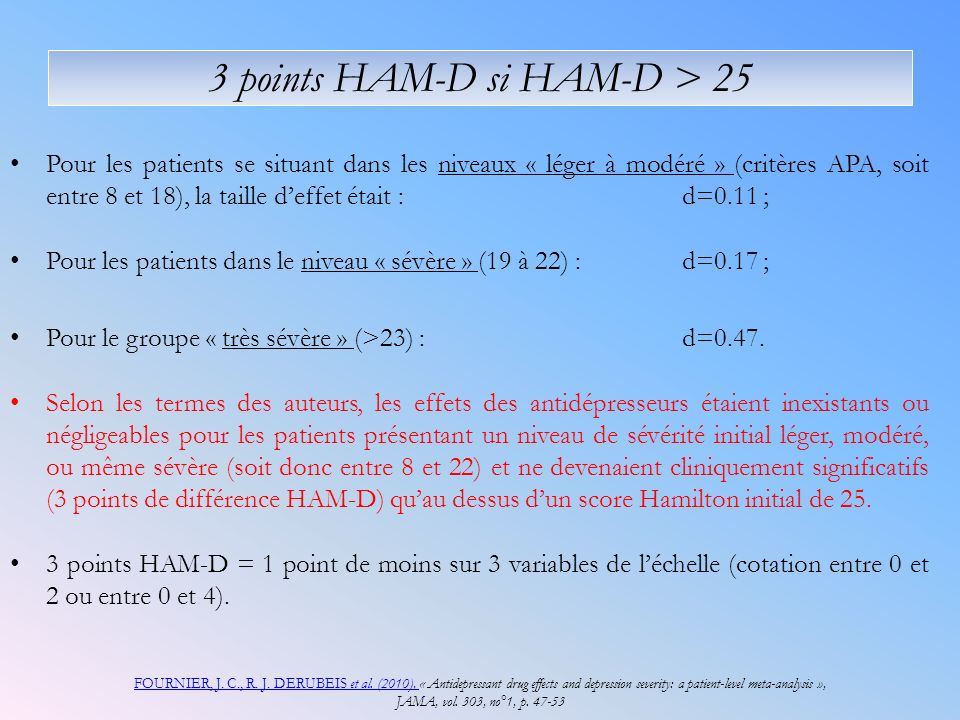 3 points HAM-D si HAM-D > 25