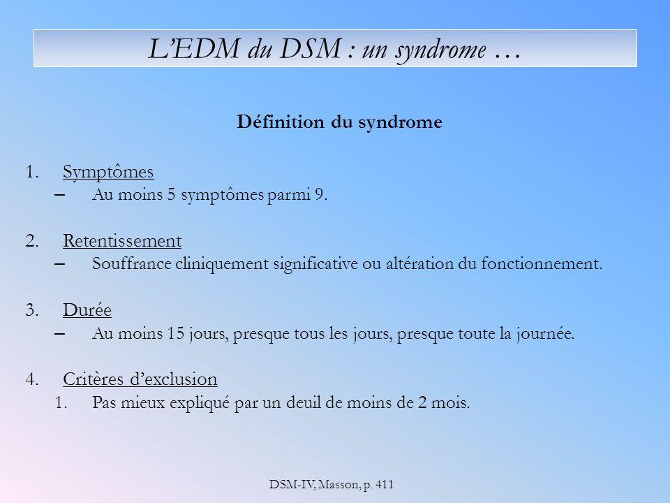 L'EDM du DSM : un syndrome …