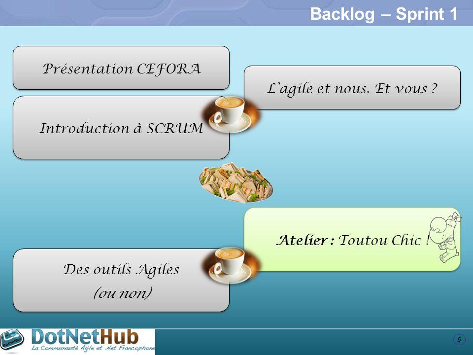 Backlog – Sprint 1 Présentation CEFORA L'agile et nous. Et vous