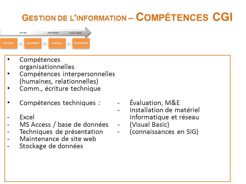 Gestion de l information – Compétences CGI
