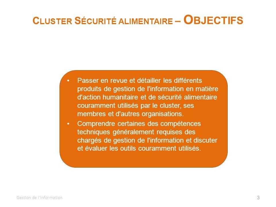 Cluster Sécurité alimentaire – Objectifs