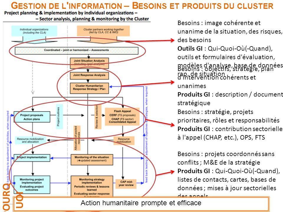 Gestion de l information – Besoins et produits du cluster