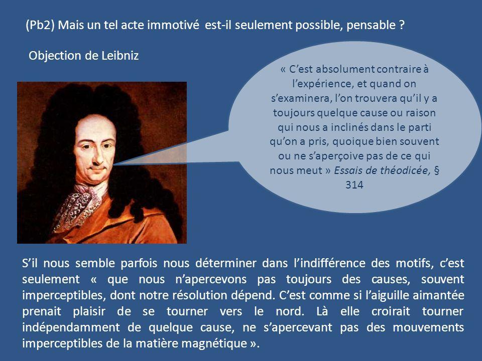 (Pb2) Mais un tel acte immotivé est-il seulement possible, pensable