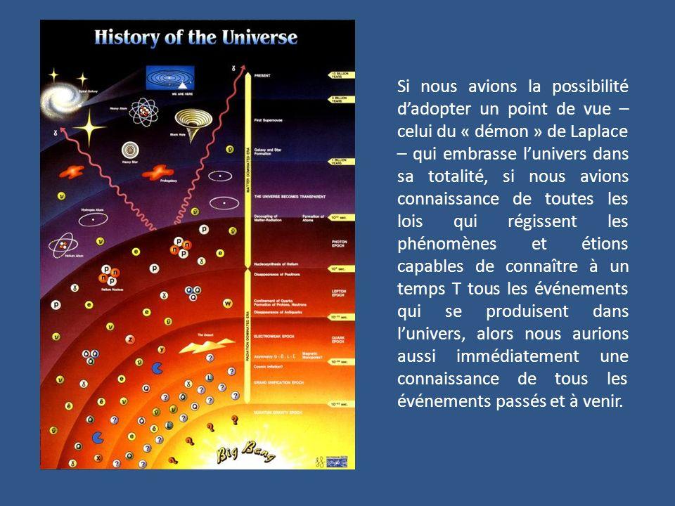 Si nous avions la possibilité d'adopter un point de vue – celui du « démon » de Laplace – qui embrasse l'univers dans sa totalité, si nous avions connaissance de toutes les lois qui régissent les phénomènes et étions capables de connaître à un temps T tous les événements qui se produisent dans l'univers, alors nous aurions aussi immédiatement une connaissance de tous les événements passés et à venir.