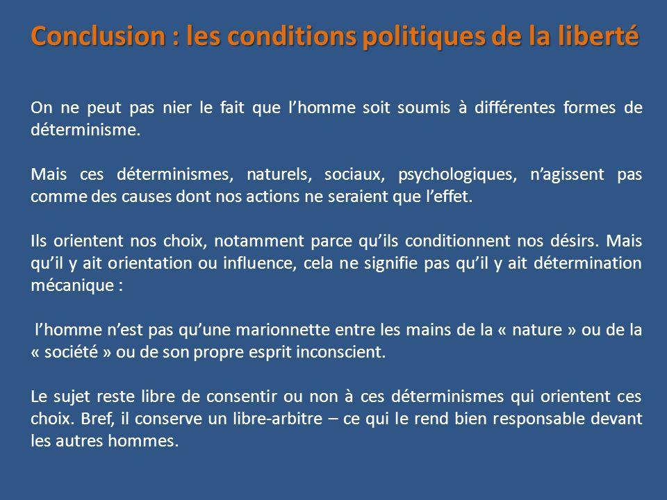 Conclusion : les conditions politiques de la liberté