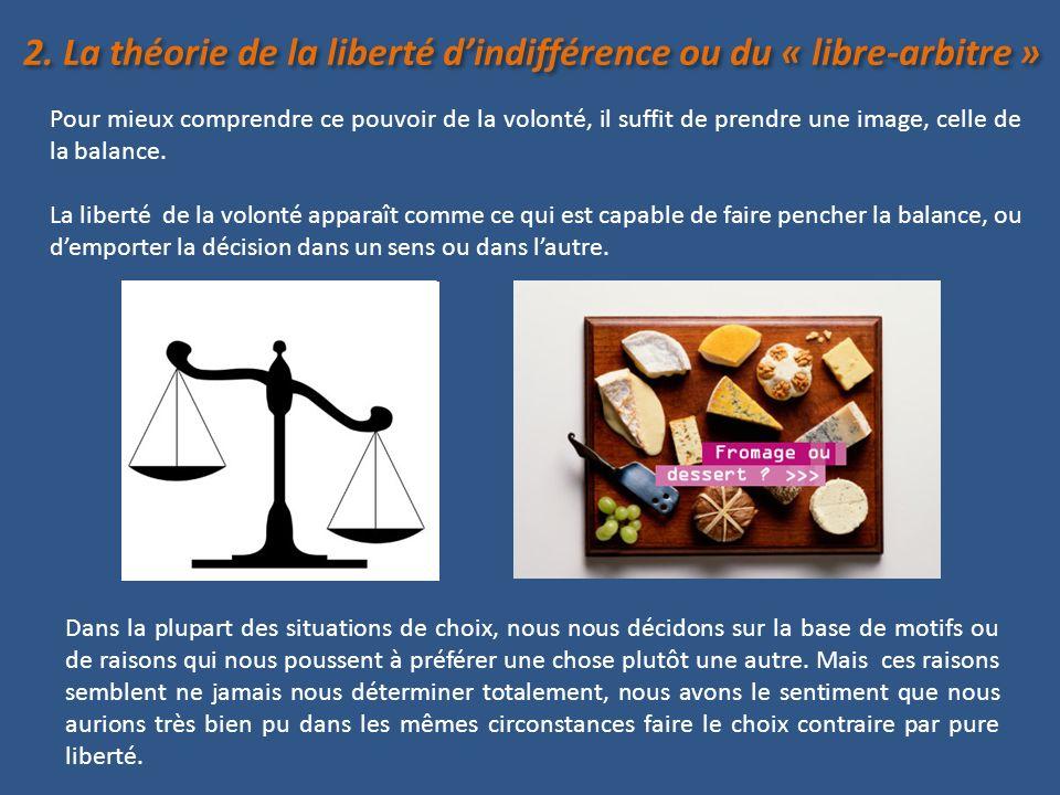 2. La théorie de la liberté d'indifférence ou du « libre-arbitre »