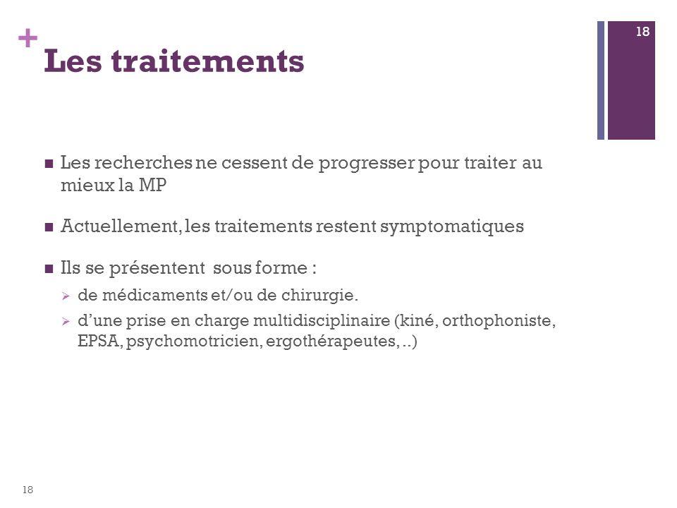 Les traitements Les recherches ne cessent de progresser pour traiter au mieux la MP. Actuellement, les traitements restent symptomatiques.