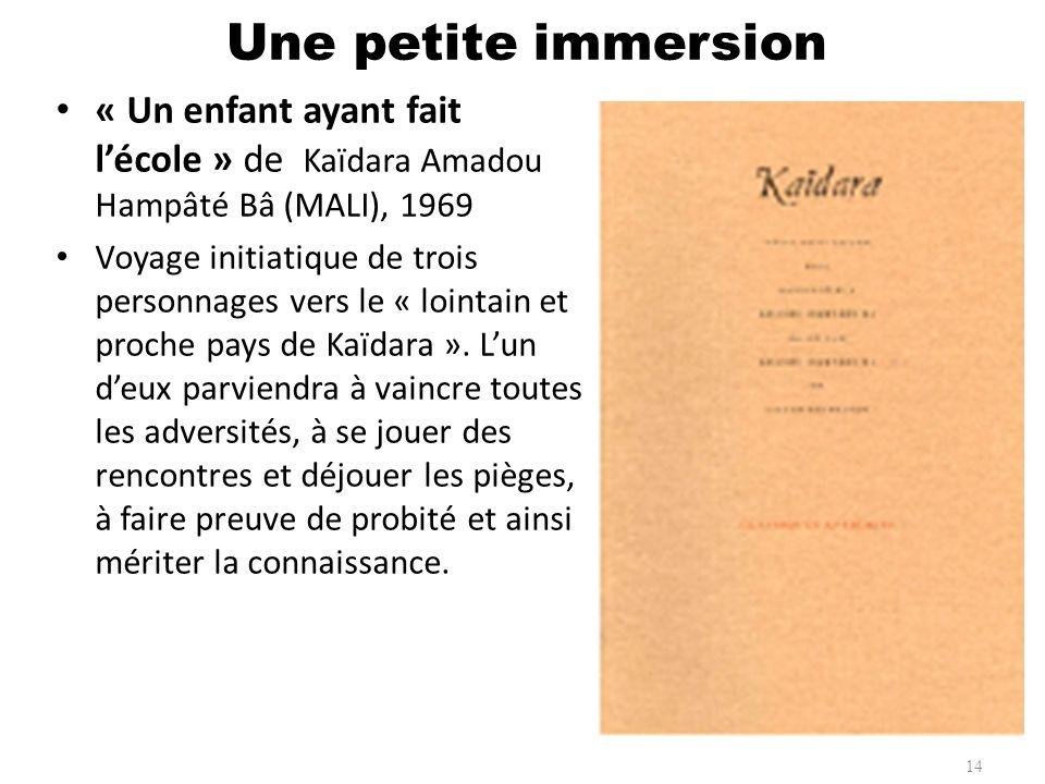 Une petite immersion « Un enfant ayant fait l'école » de Kaïdara Amadou Hampâté Bâ (MALI), 1969.