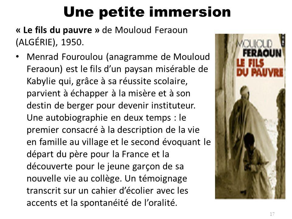 Une petite immersion « Le fils du pauvre » de Mouloud Feraoun (ALGÉRIE), 1950.
