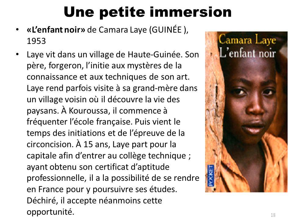 Une petite immersion «L'enfant noir» de Camara Laye (GUINÉE ), 1953