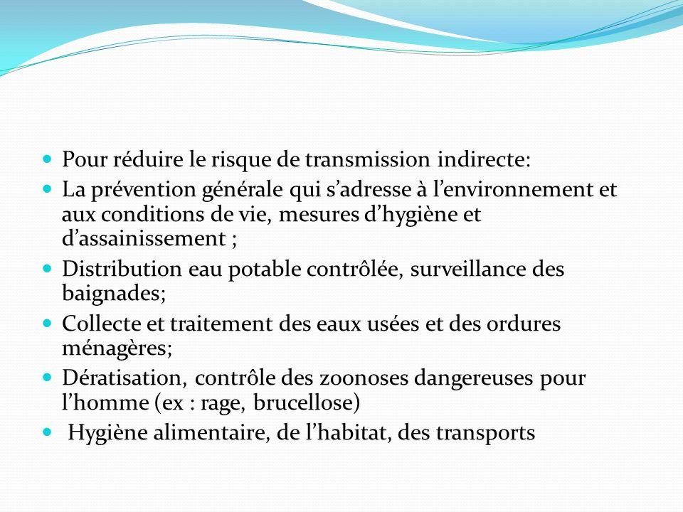 Pour réduire le risque de transmission indirecte: