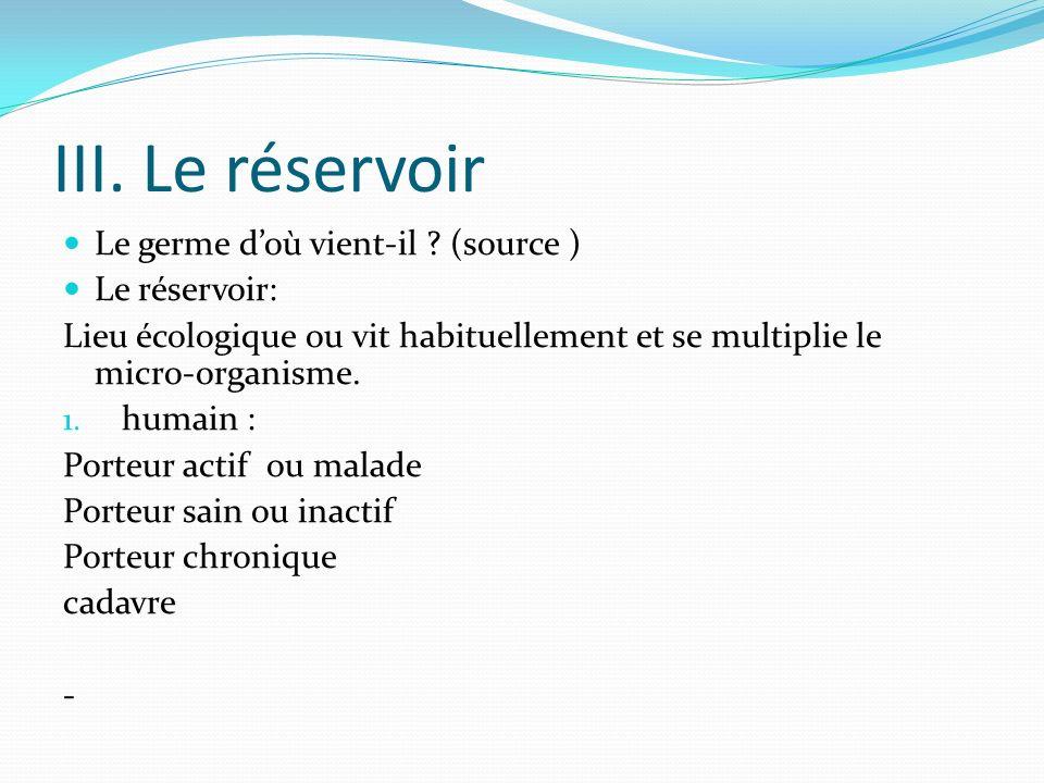 III. Le réservoir Le germe d'où vient-il (source ) Le réservoir: