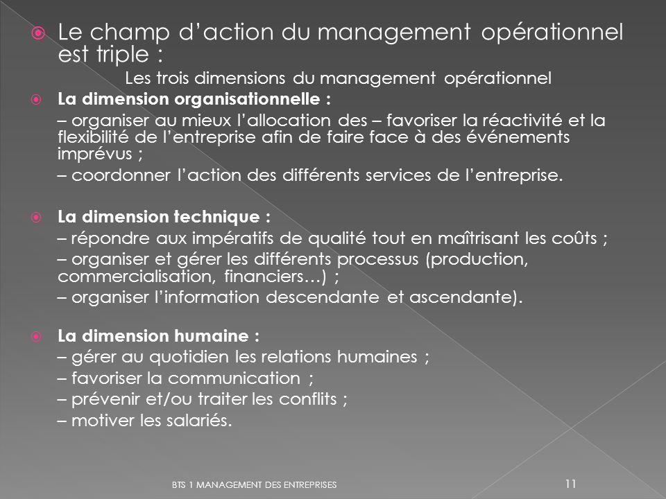 Les trois dimensions du management opérationnel