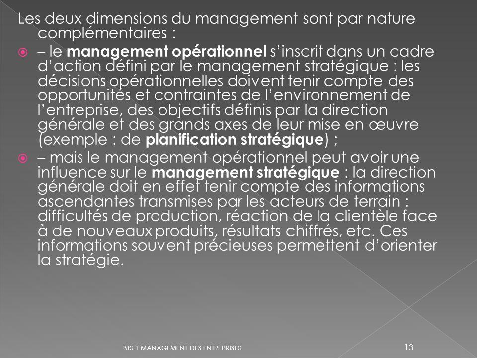 Les deux dimensions du management sont par nature complémentaires :