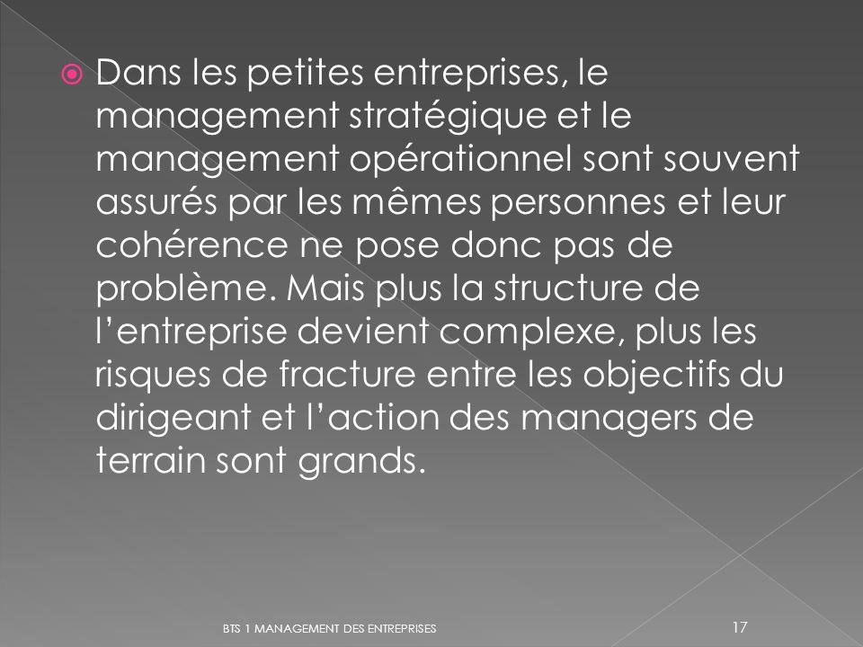 Dans les petites entreprises, le management stratégique et le management opérationnel sont souvent assurés par les mêmes personnes et leur cohérence ne pose donc pas de problème. Mais plus la structure de l'entreprise devient complexe, plus les risques de fracture entre les objectifs du dirigeant et l'action des managers de terrain sont grands.