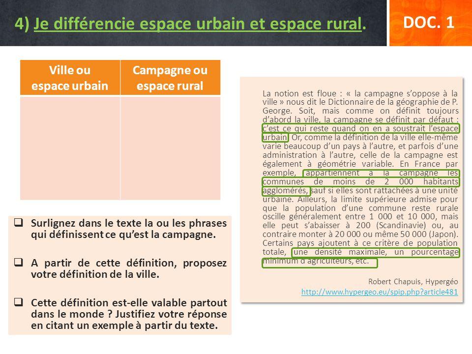 4) Je différencie espace urbain et espace rural.