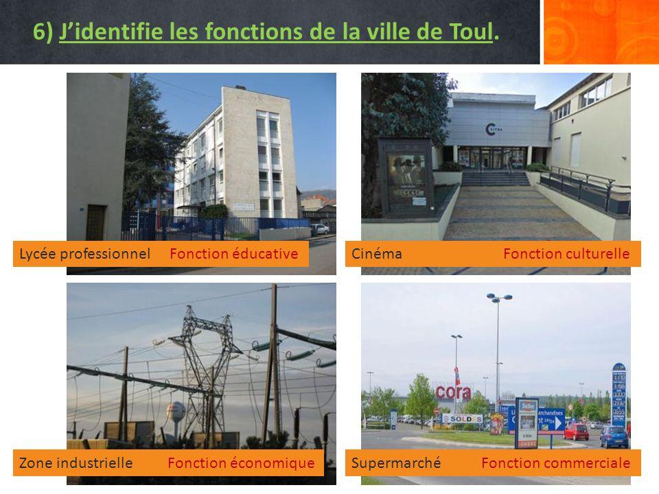 6) J'identifie les fonctions de la ville de Toul.