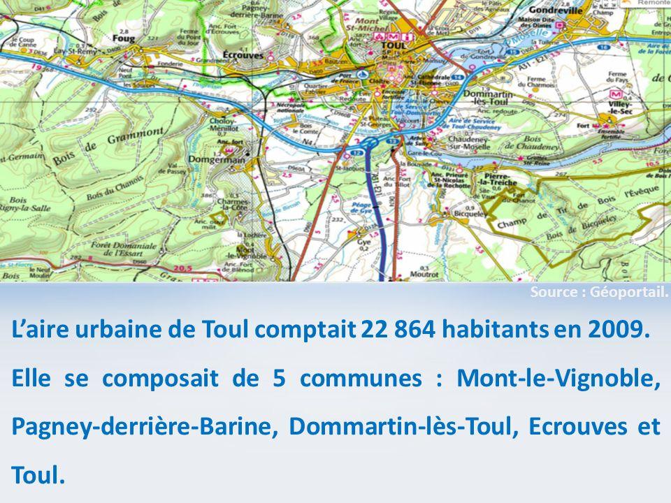 L'aire urbaine de Toul comptait 22 864 habitants en 2009.