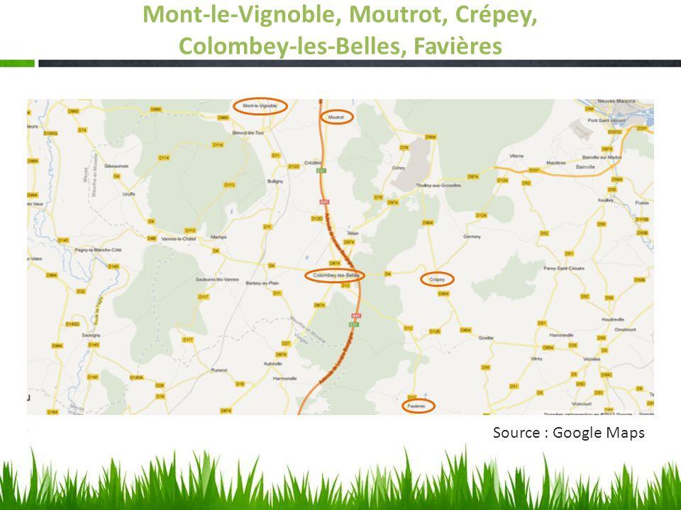 Mont-le-Vignoble, Moutrot, Crépey, Colombey-les-Belles, Favières