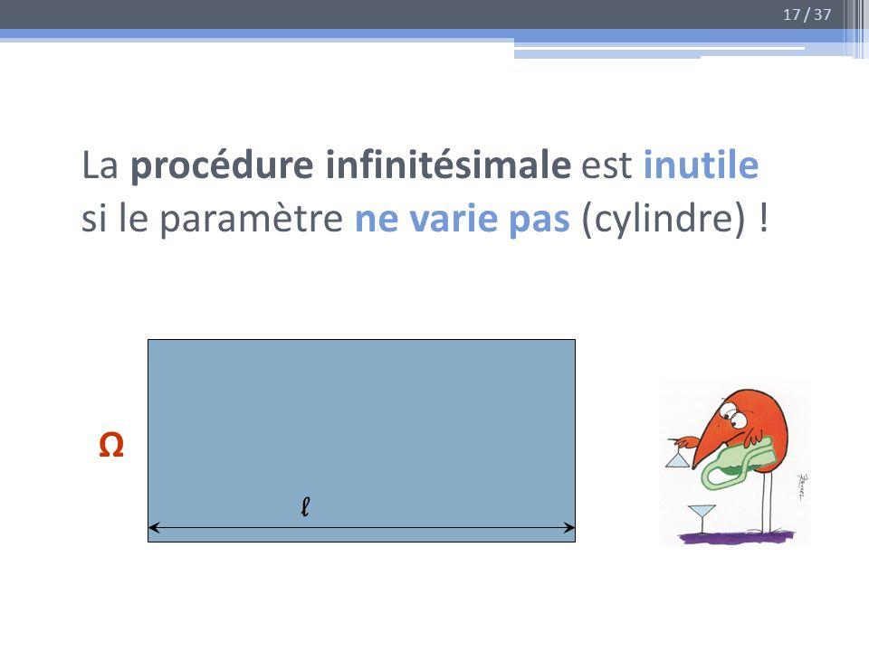 17 / 37 La procédure infinitésimale est inutile si le paramètre ne varie pas (cylindre) ! Ω l