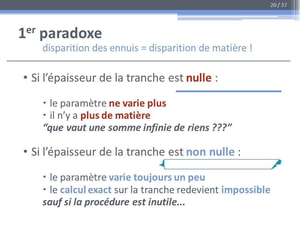 1er paradoxe disparition des ennuis = disparition de matière !