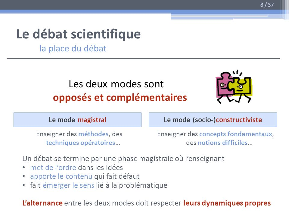 Le débat scientifique la place du débat