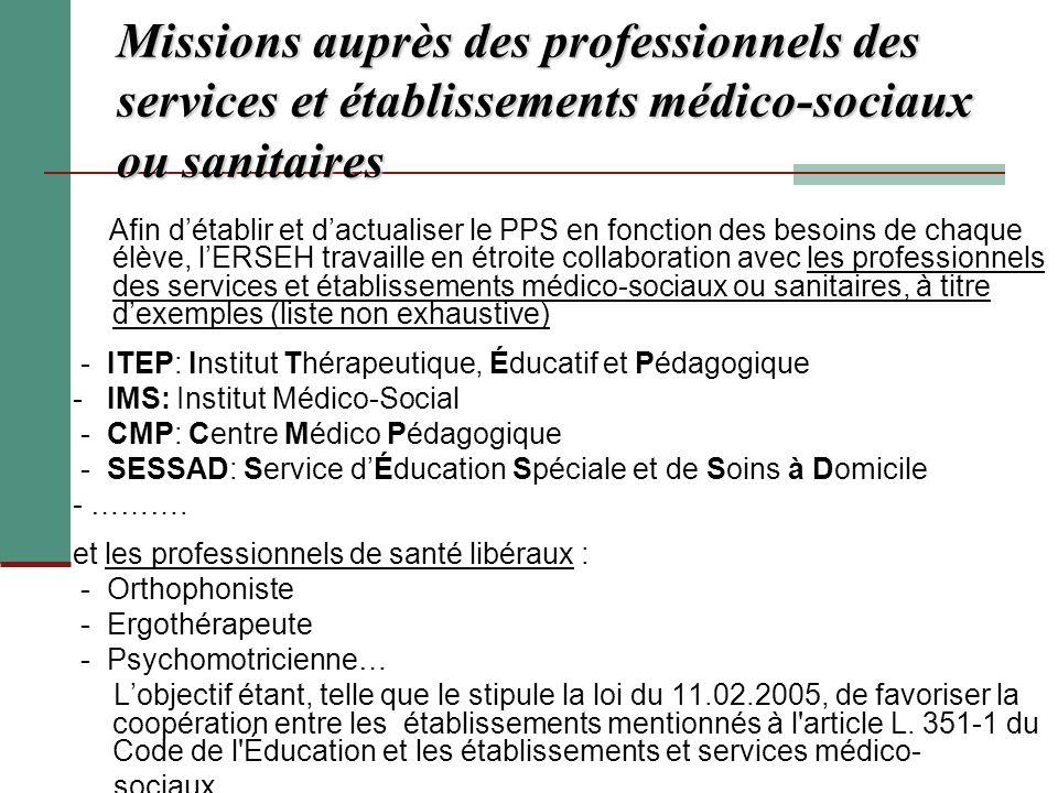Missions auprès des professionnels des services et établissements médico-sociaux ou sanitaires