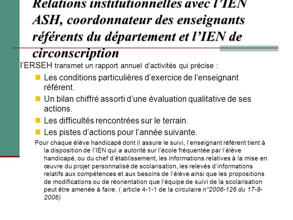 Relations institutionnelles avec l'IEN ASH, coordonnateur des enseignants référents du département et l'IEN de circonscription
