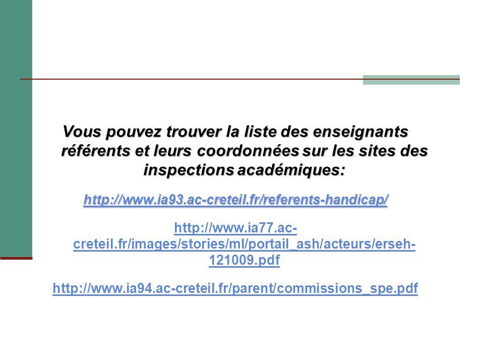 Vous pouvez trouver la liste des enseignants référents et leurs coordonnées sur les sites des inspections académiques: