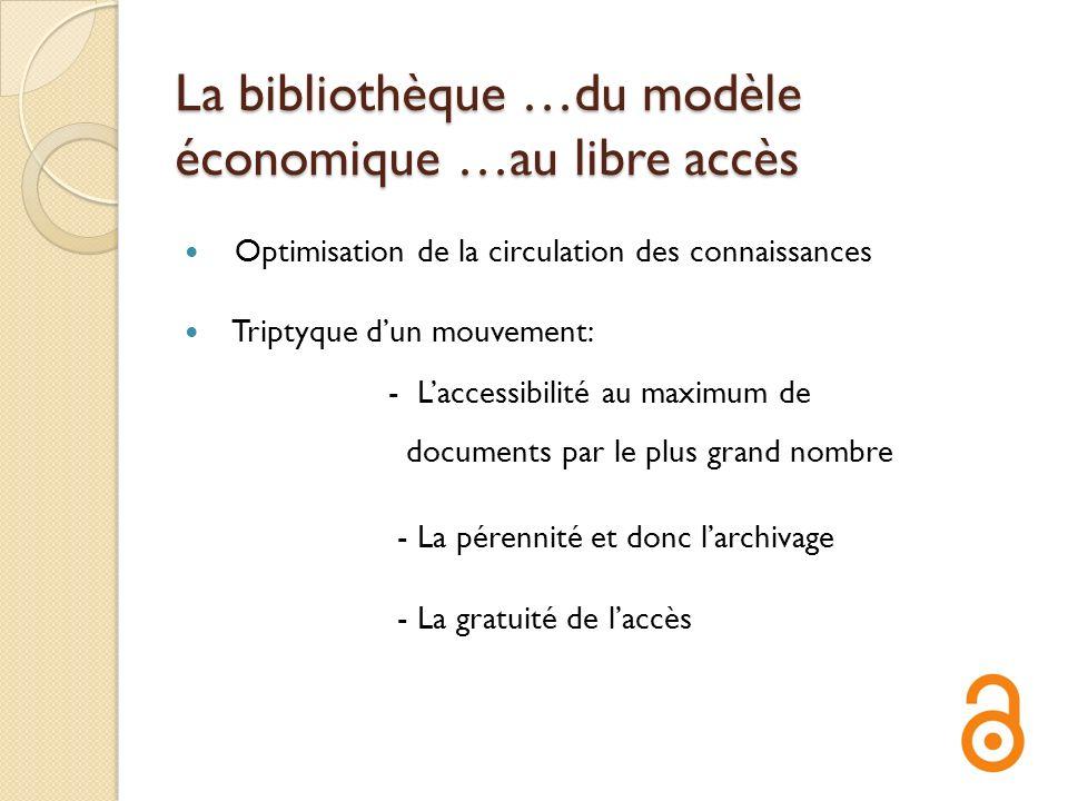 La bibliothèque …du modèle économique …au libre accès