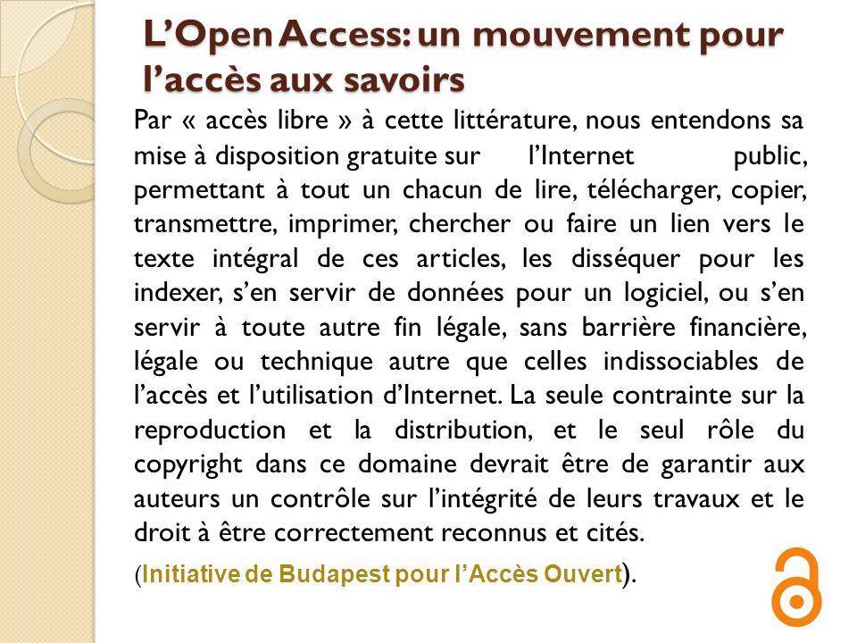 L'Open Access: un mouvement pour l'accès aux savoirs