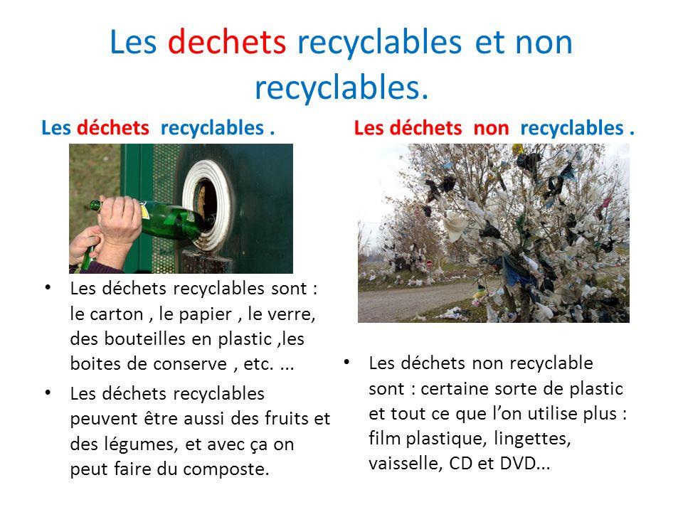 Les dechets recyclables et non recyclables.