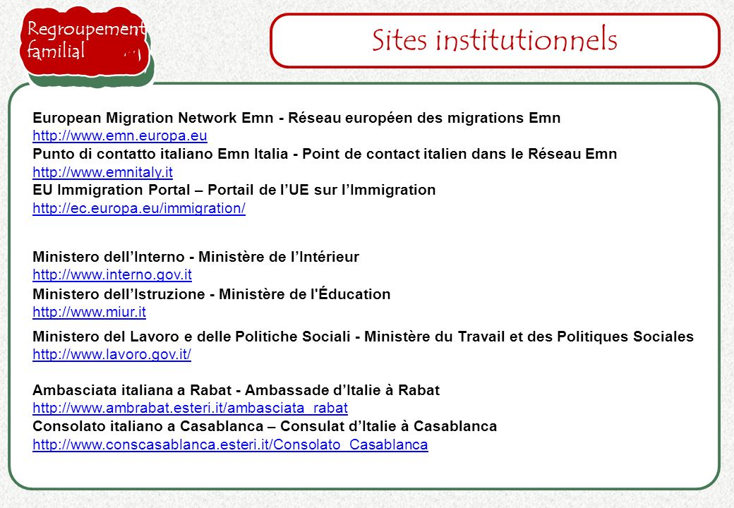 Sites institutionnels